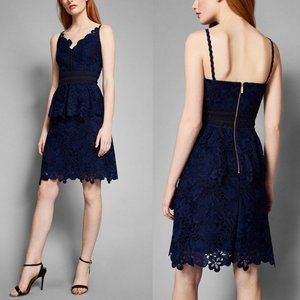 Ted Baker Navy Nadiie Lace Peplum Cocktail Dress